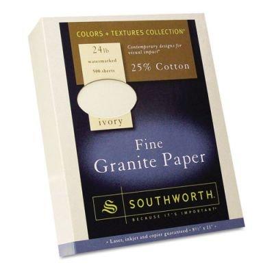 Southworth 934C Fine Granite Paper- 24 lbs.- 8-1/2 x 11- Ivory- 500/Box by Southworth
