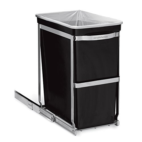 Wide Counter High Cabinet (simplehuman Under-Counter Pull-Out Trash Can, Commercial Grade, 30 L / 8 Gal)