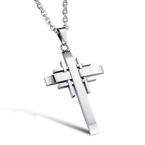 Xiaodian Men's Titanium Stainless Steel Anti-Allergy Necklace Polished Double Layer Cross Pendant Color Fading Proof with 21 Inch Chain Color White