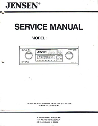 Jensen SJS 9000 Stereo AM FM Cassette Player, Service Manual (9000 Stereo)