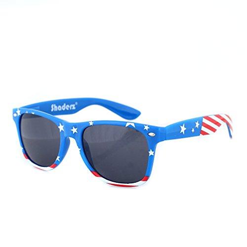 Shaderz Classic Navy Frame Retro 80's American America Sunglasses Dark - Sunglasses Printed Lens