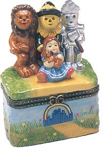 Wizard of Oz Tinman Scarecrow Toto Trinket Box phb