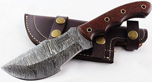 Moorhaus Handmade Firestorm Damascus G10 Blood Orange Micarta Tracker Knife Leather Sheath Review