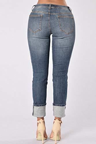 2color Rasgado Mezclilla Bolsillo yulinge Jeans Azul De Ankle Las con Mujeres Destoryed Pantalón tx8v7qw
