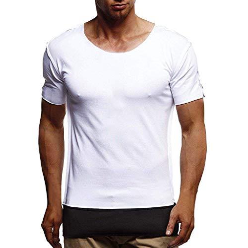 (AMOFINY Men's Shorts T01 Round Neck Panel Short Sleeve T-Shirt Top White)