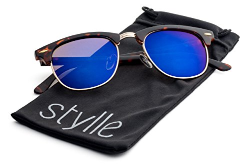 Matte Havana Frame/Blue Flash Mirrror Lens Stylle Clubmaster - Bans Men Most Ray Popular For