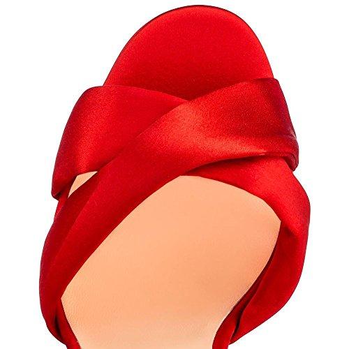 Alto Red Fiesta Tacón Estilete Tobillo Rojo HN Negro pie Club Boda Sandalias Correa Vestir Nocturno Zapatos Mirar Señoras Mujeres del Dedo furtivamente Shoes UxqwBPv