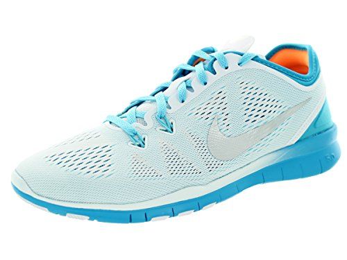 Nike Womens Free 5.0 Tr Fit 5 Bianco / Mtllc Slvr / Bl Lgn / Clrwtr Scarpe Da Allenamento 5.5 Donne Us
