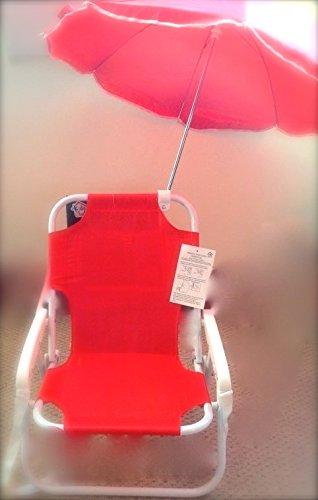 Longue Parasol De Et Enfants Chaise Plage Pour Rouge 8w0Nvmn