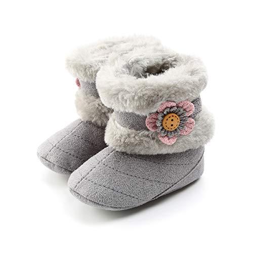 LUWU Baby Girls Boy Winter Boot Antiskid Soft Sole Warm Snow Shoes (6-12 Months, Grey-B)