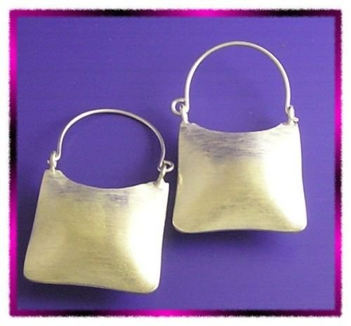 INFINITY KAREN TRIBE HILL 98% SILVER Handmade LOCK PURSE HANDBAG Hoop EARRINGS E772