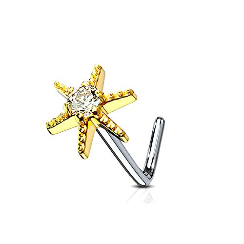 MoBody 20 Gauge Nose Ring Stud L-Shaped CZ Centered Starburst 316L Surgical Steel Body Piercing Jewelry (Gold-Tone)