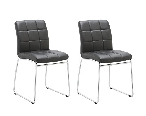 Guest/Reception Dining Chair with Faux Leather Set of 2 Duhome WY-732 Stool (Black)
