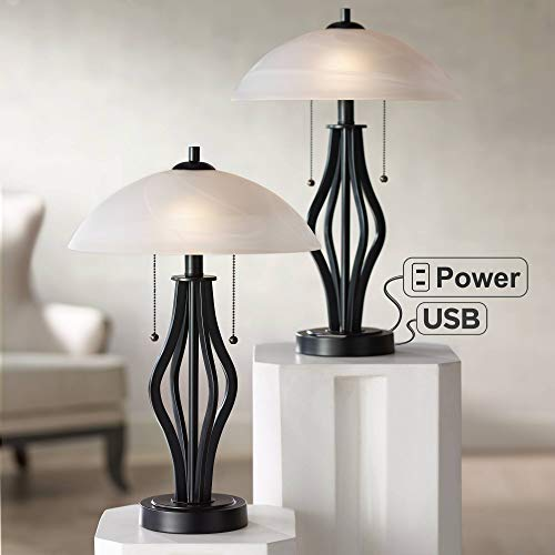 Heather Modern Accent Table Lamps Set of 2 with USB Port and AC Power Outlet in Base Dark Metal Base Glass Dome Shade for Living Room Bedroom Bedside Office - 360 Lighting