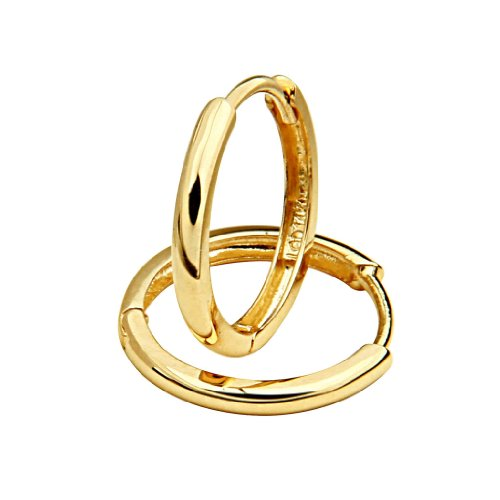 14k Yellow Gold 2mm Thickness Hoop Huggie Earrings (15 x 15 mm)