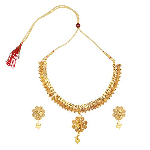 Efulgenz Indian Bollywood Traditional 14 K Gold Plated Crystal Coin Temple Wedding Choker Necklace Earrings Jewelry Set