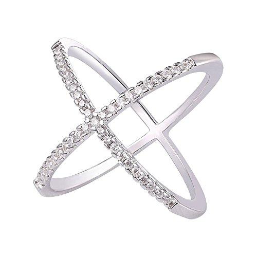 Pave Platinum Cross - U7 Platinum Plated Pave CZ X Criss Cross Long Ring,Size 9