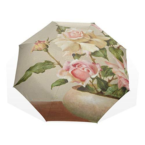 HangWang Umbrella Bowl of Roses Oil Travel Golf Sun Rain Windproof Umbrellas with UV Protection for Kids Girls ()