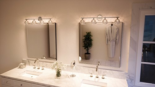 Luxury Crystal Globe LED Bathroom Vanity Light, Large Size: 8''H x 32.5''W, with Modern Style Elements, Polished Chrome Finish and Crystal Studded Shades, G9 LED Technology, UQL2632 by Urban Ambiance by Urban Ambiance (Image #1)