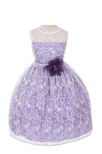 Girl's Elegant Flower Girl Party Holiday Dress - White Lace/Lavender 10 ()