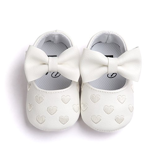 CoKate Baby Boys Girls Soft Sole Shoes Bowknots PU Moccasins Crib Shoes 0-18 Months (0-6Month, White)