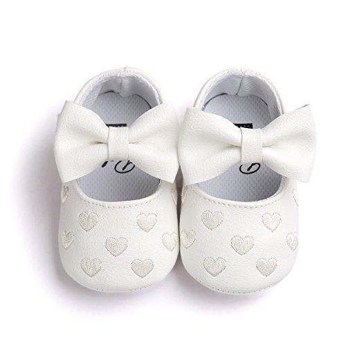Sabe Infant Baby Girls Soft Sole Prewalker Crib Mary Jane Shoes Princess Light Shoes (0-6 Months Infant, C-White)