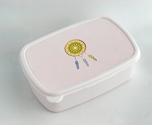White lunch box with A Native American dreamcatcher. The fea
