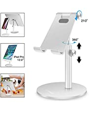 AICase Adjustable Tablet/Phone Stand, Telescopic Adjustable Ipad Stand Holder,Universal Multi Angle Aluminum Stand Compatible With Iphone Smart Cell Phone/Tablet/Ipad(4-13 Inch), Silver