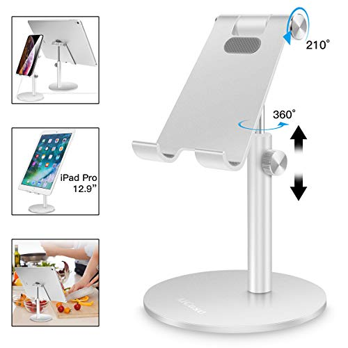 Adjustable Tablet/Phone Stand,AICase Telescopic Adjustable iPad Stand Holder,Universal Multi Angle Aluminum Stand Compatible with iPhone Smart Cell Phone/Tablet/iPad(4-13 inch), Silver