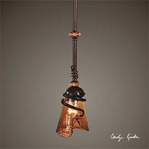 Art Glass Accent (Ambient Oil Rubbed Bronze Metal With Amber Tinted Accents And Hand Crafted Toffee Colored Art Glass Mini Pendants)