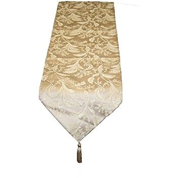 """Violet Linen Luxury Damask Table Runner, 13"""" x 90"""", Gold"""
