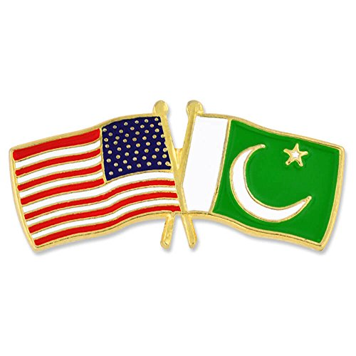 (PinMart USA and Pakistan Crossed Friendship Flag Enamel Lapel Pin)