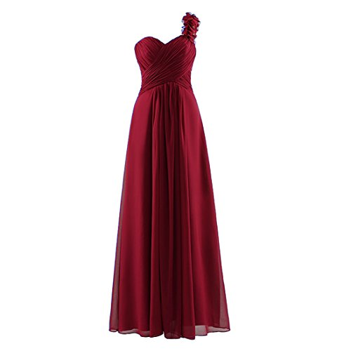 women\'s One Shoulder Sleeveless Bridesmaid Chiffon Prom Dress Long ...