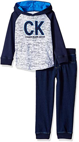 Calvin Klein Baby Boys 2 Pieces Jog Set-Long Sleeve TOP, Heather Blue, 12M