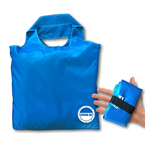 Beach Tote - Large Folding Travel & Shopping Bag (Collapsible Small Pouch)