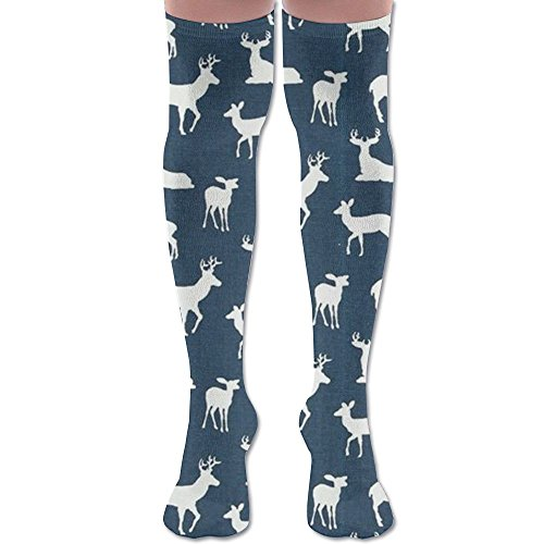 Plaid Moose Buffalo Knee High Compression Socks Outfit POP Smooth Halloween For Girls Over The Knee (Halloween Beards Canada)