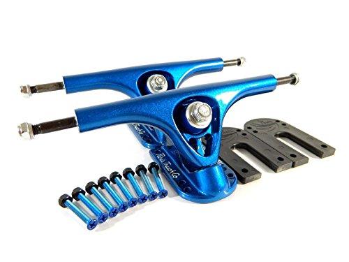 "Paris 180mm V2 Longboard Trucks Blue w/ Paris 1/4"" Riser Pad + 1.5"" Hardware"
