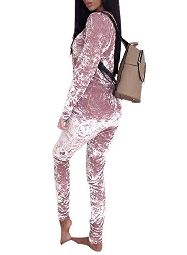 Velour Sweatsuits for Women 2 Pieces Outfits Tracksuit Jogging Jog Set Pink XL -