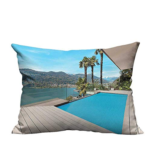 (alsohome Durable Cotton Cushion Covers Modern House Beautiful Patio with Pool Outdoor Wooden Deck Timber Residence Pho Comfortable and Breathable11x19.5 inch(Double-Sided Printing))