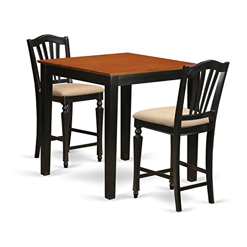 East West Furniture PBCH3-BLK-C 3 Piece High Top Table and 2 Kitchen Chairs Set