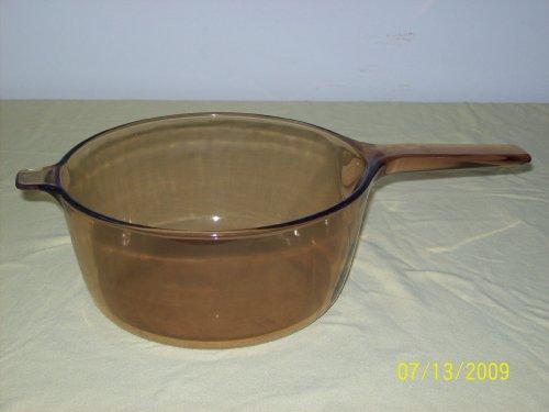 Corning Amber Visionware Vision Ware 2.5 Liter Sauce Pan Pot USA