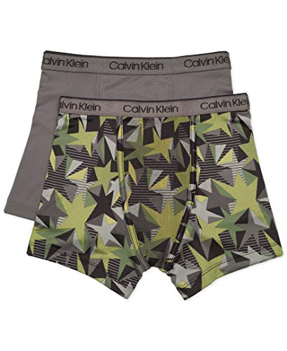 (Calvin Klein Big Boys' Kids Performance Boxer Brief Underwear, Multipack, 2 Pack - CK Star Camo, Natural Grey, M)
