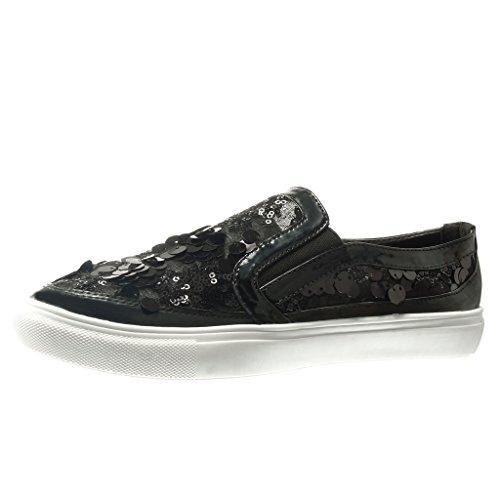 Angkorly Zeppe Donna Nero Paillette 2 Zeppa Moda cm 5 Tacco Scarpe Sneaker rxItAFr