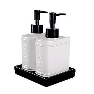 wentao 3 piece ceramic bath accessory set liquid soap or lotion dispenser home. Black Bedroom Furniture Sets. Home Design Ideas
