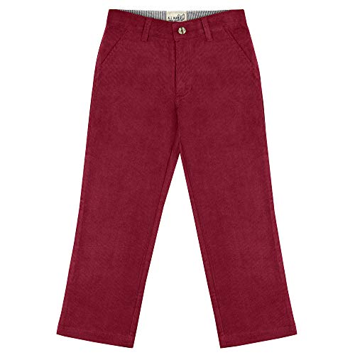 Buyless Fashion Boys Pants Flat Front Slim Fit Casual Corduroy Solid Color - 19W1824-BRG-5 - Burgundy Pants Corduroy