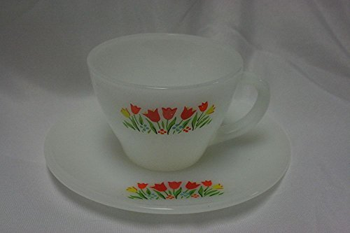 Vintage Anchor Hocking Fire King Tulip Milk Glass Cup and Saucer Flower Floral RARE