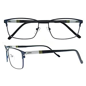 OCCI CHIARI Rectangle Full-Rim Metal Optical Glasses Acetate Arm For Bussiness Men(Blue, 54)
