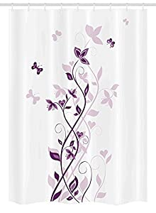 Purple Stall Shower Curtain By, Violet Tree Swirling Persian Lilac Blooms  With Butterfly Ornamental Plant Graphic, Fabric Bathroom Decor Set With  Hooks, ...