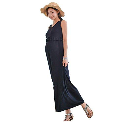 カトリック教徒機転不安(モコベビー) MOKO BABY サラッと着られて 美スタイル ! 産前 産後 も 大活躍 の マタニティ 授乳服 2way ロング ワンピース ノースリーブ 授乳口付き (L, ネイビー)