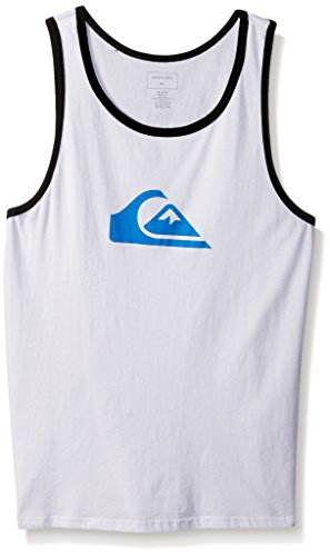 Quiksilver Men's Mountain and Wave Tank Top Tee T-Shirt, White, (Quiksilver Mens Mountain Wave)
